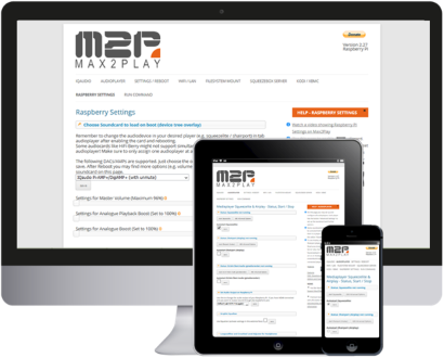 Max2Play Browserinterface auf dem PC, Tablet und Smartphone