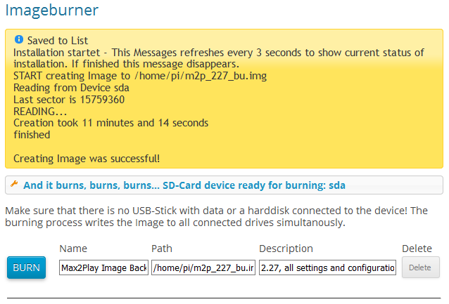 Reading Image on SD card with Imageburner Plugin and adding the image file (img) to the image list