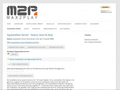 Max2Play Konfiguration Squeezeboxserver