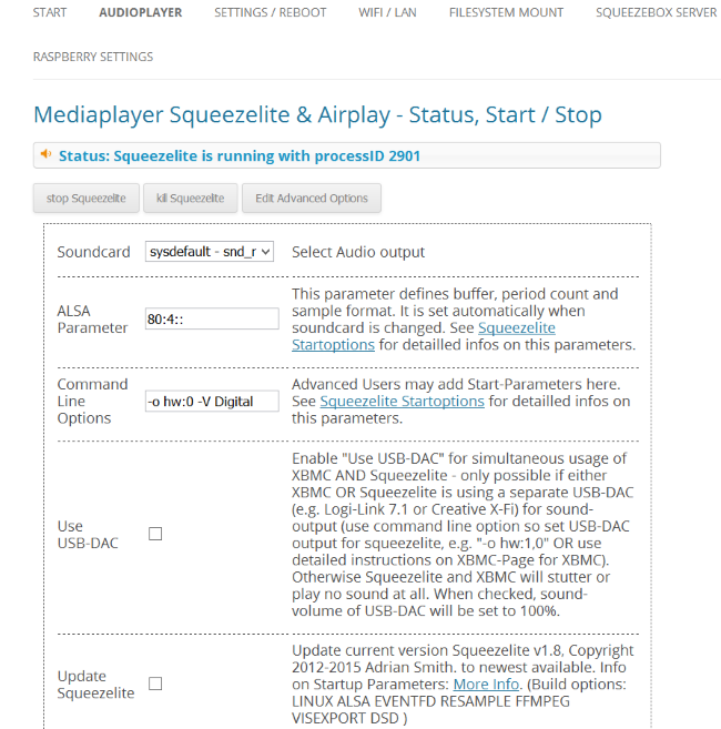 Mediaplayer Squeezelite and Airplay Plugin
