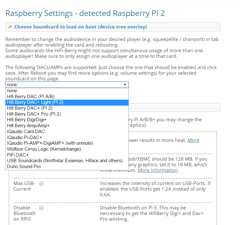raspi settings dac light