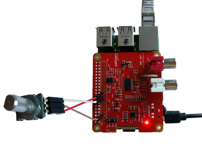 Example how to connect a rotary encoder to JustBoom DAC HAT sound card.