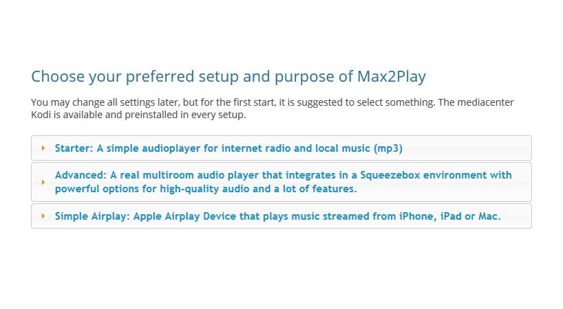 Max2Play screenshot of the basic preset audio configuration choice.