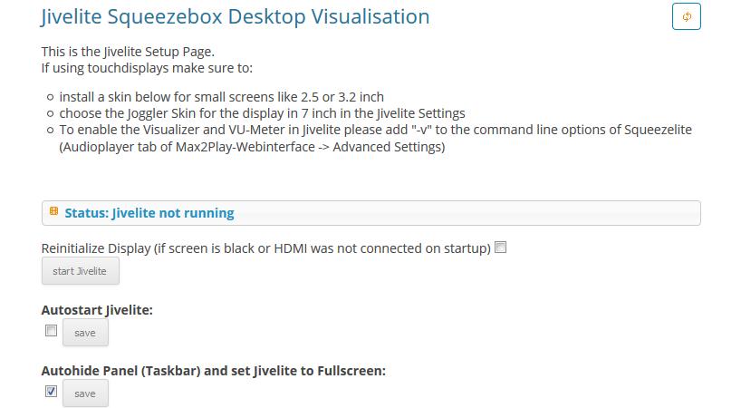 Max2Play screen of the jivelite plugin