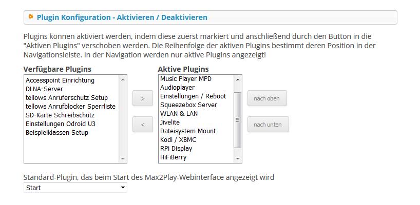 Max2Play Screenshot von der Übersicht, der installierten Plugins.