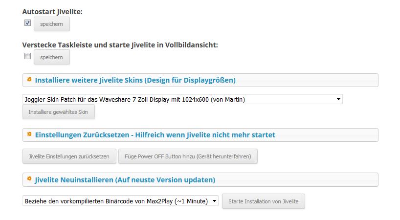 Max2Play Screenshot von den Einstellungen im Jivelite Plugin.