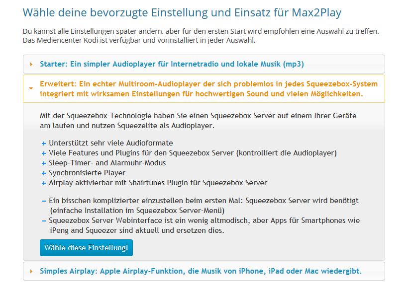 Max2Play Screenshot von der Auswahl der Vorkonfiguration.