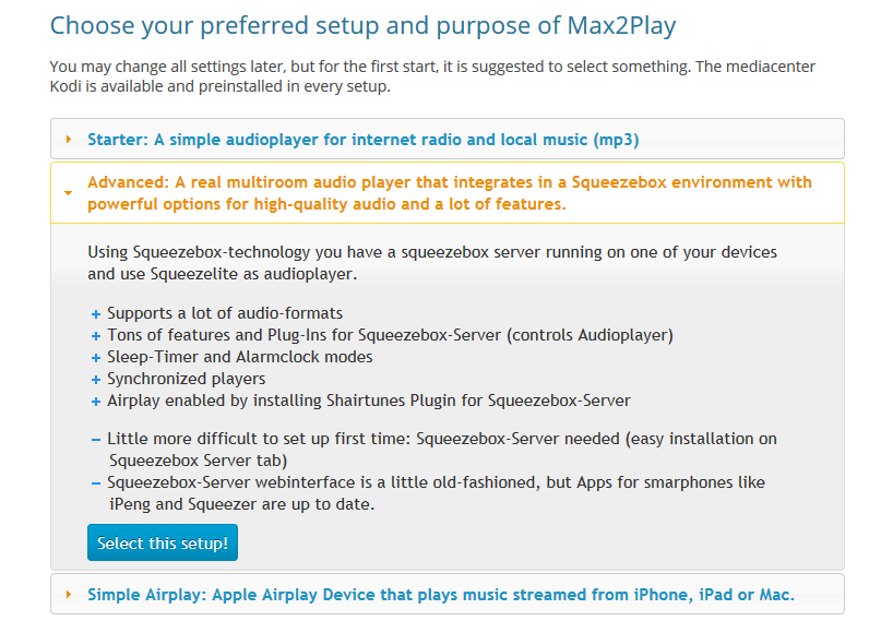 Max2Play Screenshot from the selection of the preconfiguration.