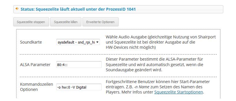 Max2Play Screenshot der erweiterten Einstellungen im Squeezelite Plugin.