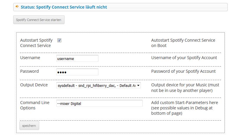 Einstellungen für Spotify Connect auf dem Raspberry Pi mit Max2Play.