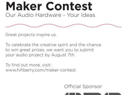 Max2Play ist Softwarepartner des Maker Contest by HiFiBerry und Bang & Olufsen Create